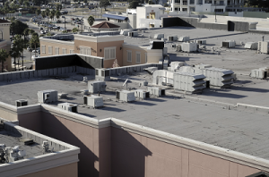 Commercial flat roofs with HVAC equipment