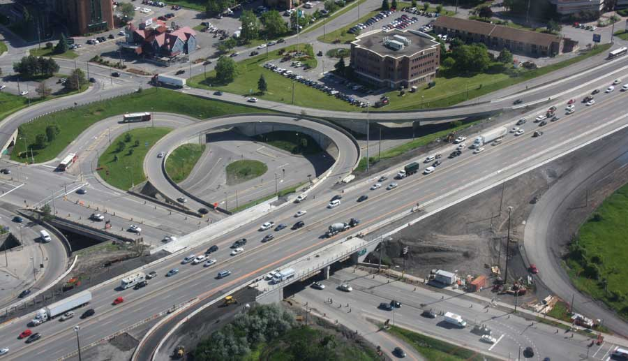 Hwy. 417 Widening from Nicholas to Hwy. 417/O.R 174 Split Aerial View