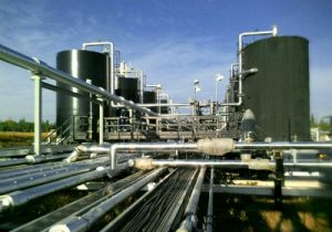 Pipes and tanks from Gas plant