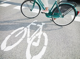 bicyle lane with cyclist